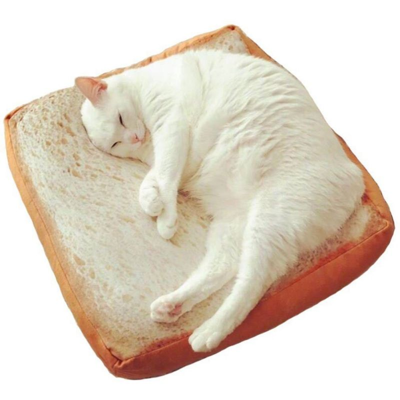Can Be Swallowed Cute Emulation Toast Bread Slices Creative Plush Pillow Pet Cats Bread Leisure Cushions Sleeping Cushions
