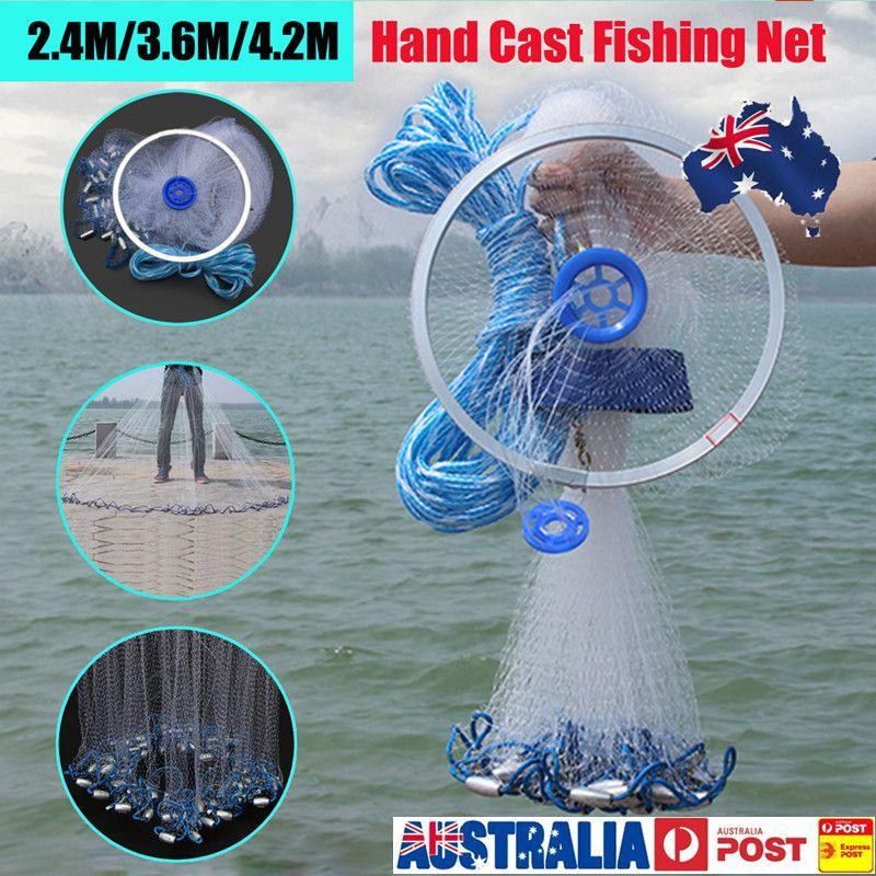 1 stücke Heißer 2,4 mt/3,6 mt Große Hand Cast Angeln Nylon Net Spin Netzwerk Köder Net w/ platinen Durable Carp Fishing Tackle Zubehör