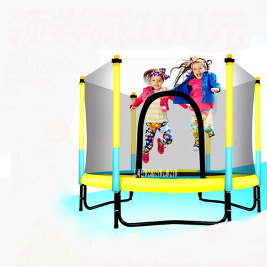 60 inch Round Kids Mini Trampoline Enclosure Net Pad Rebounder Outdoor Exercise home toys jumping bed max load 150KG PP,alloy