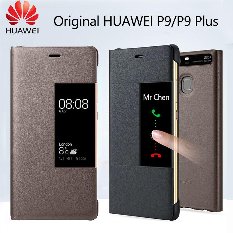 Huawei P9 étui Original étui à rabat officiel fenêtre de vue intelligente en cuir PU Huawei P9 Plus étui Protection complète housse de téléphone Funda