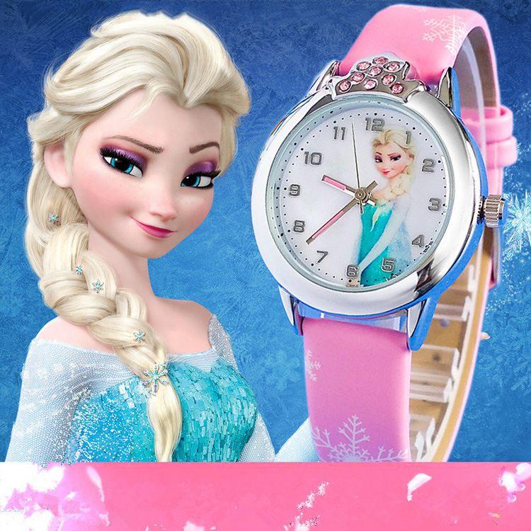 relogio feminino 2016 New relojes Cartoon Children Watch Princess Elsa Anna Watches Fashion Kids Cute Leather quartz Watch Girl