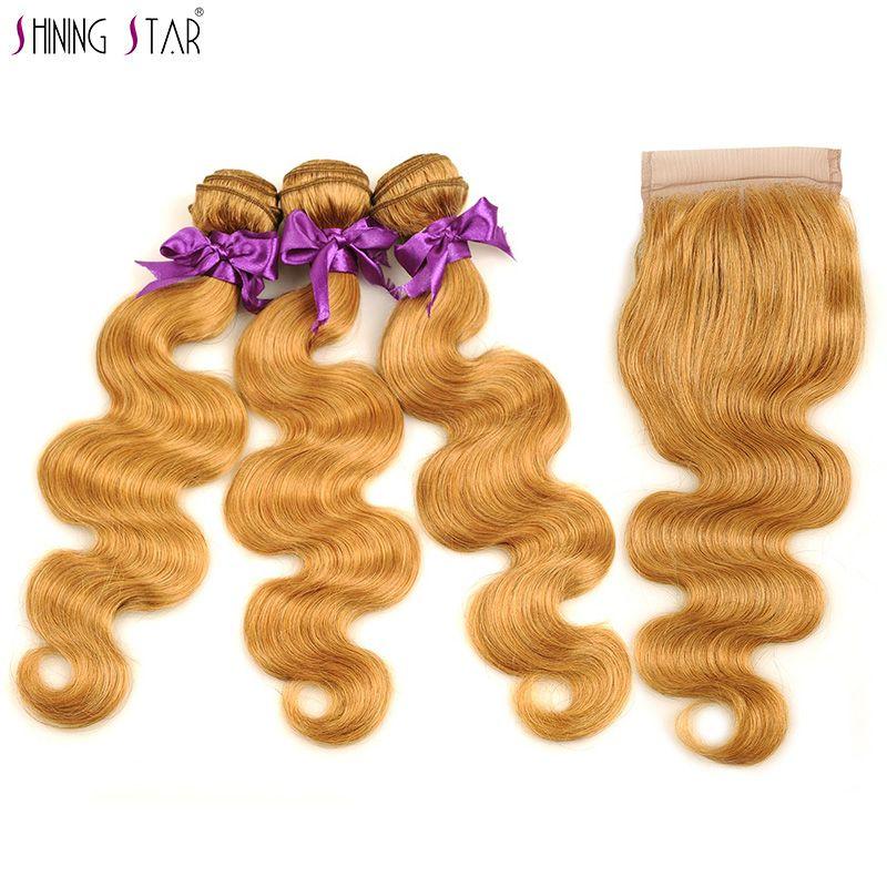 3 Brazilian Honey Blonde Bundles With Closure Colored 27 Body Wave Bundles With Closure Human Hair Weave Shining Star Non Remy