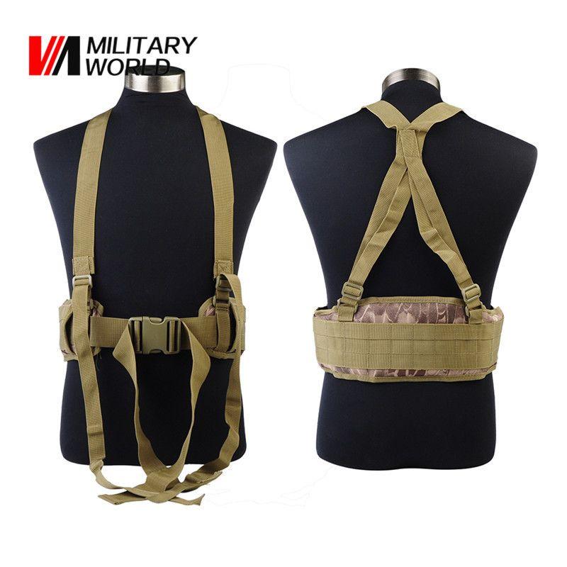 Outdoor Sport Molle Adjustable Tactical <font><b>Waist</b></font> Padded Belt With H-shaped Suspender Military Airsoft Nylon Cummerbunds For Men