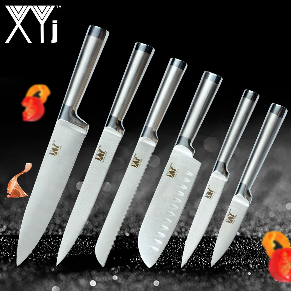 XYj Stainless Steel Kitchen Knives Set Fruit Paring Utility Santoku Chef Slicing Bread Japanese Kitchen Knife Set Accessories