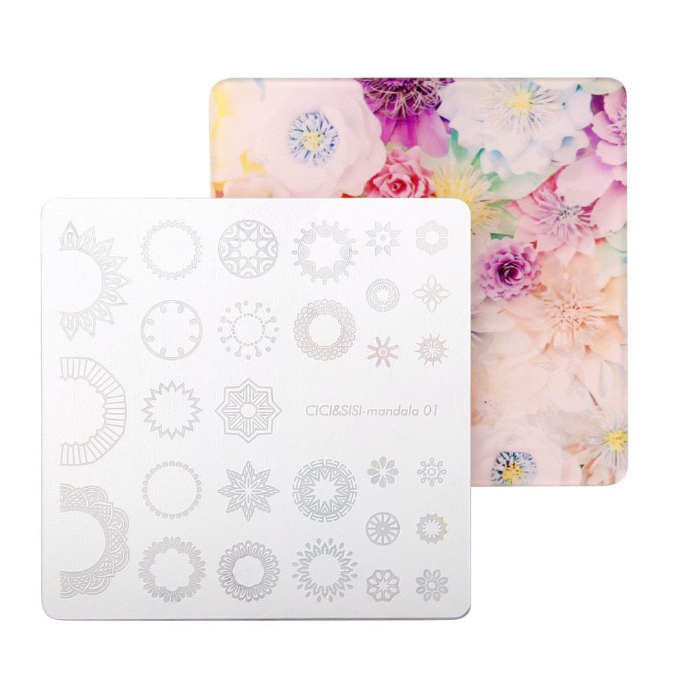CICI и Sisi акрил наслоения Мандала Дизайн ногтей Stamp плиты Мандара плиты Цветы штамповка плиты изображения Дамаск ногтей штамповки пластины