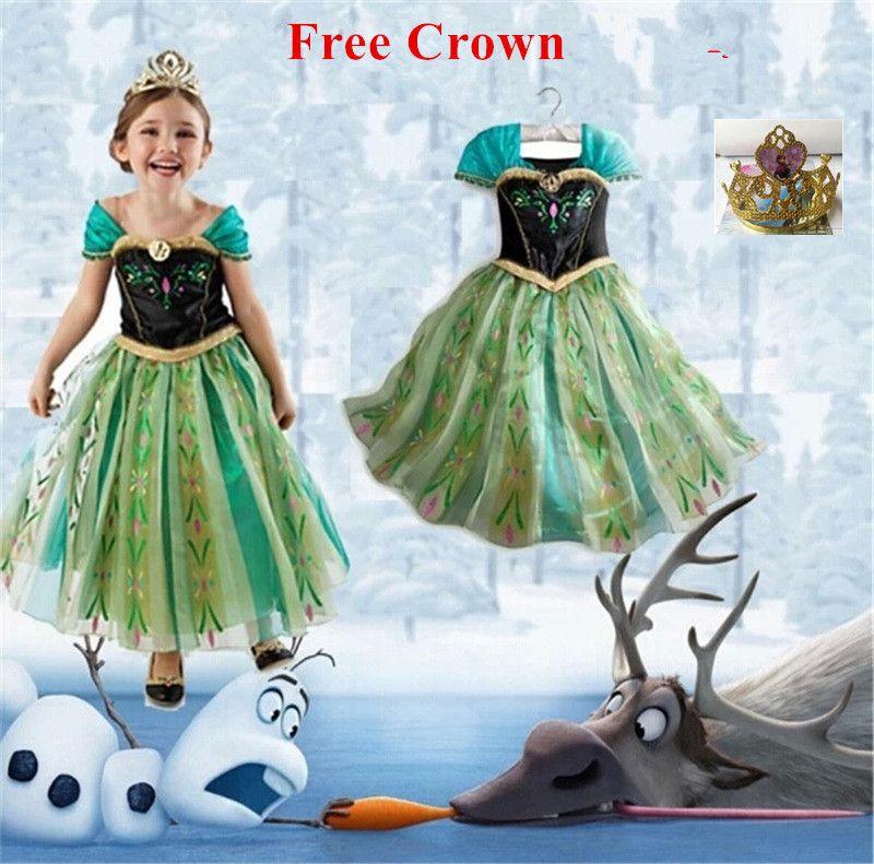 2016 платье принцессы Анны принцессы для девочек костюм для детей партии Disfraces princesa Vestido Ana De Festa карнавал fantasia Infantil Meninas