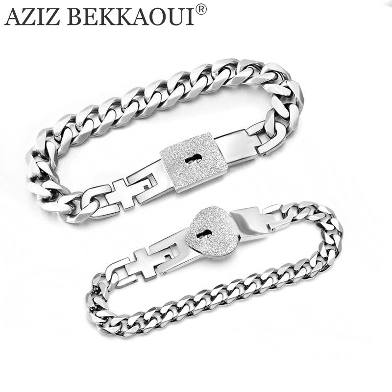 AZIZ BEKKAOUI Customized Name Heart Jewelry Lock & key Couple Bracelets Stainless Steel Figaro Chain Bracelets Drop Shipping