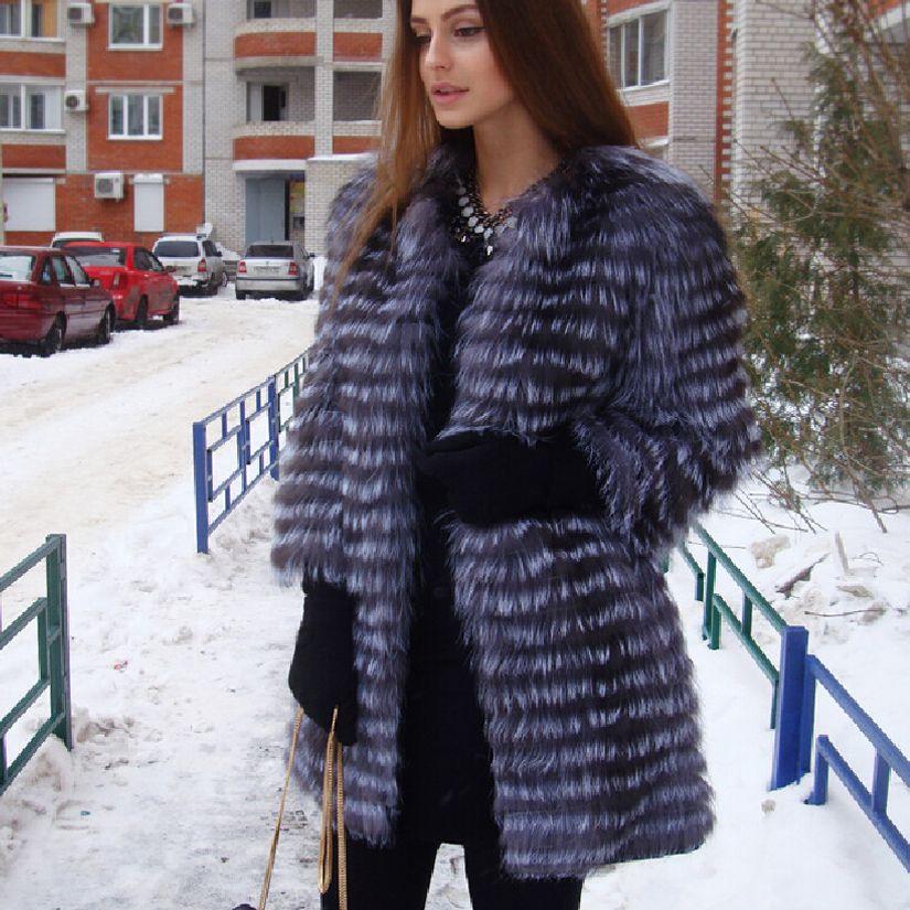 BF Мех животных Для женщин зима Настоящий Лисий Мех животных пальто 2017 новые женские толстые теплые средней длины женский Меховая куртка Fox М...