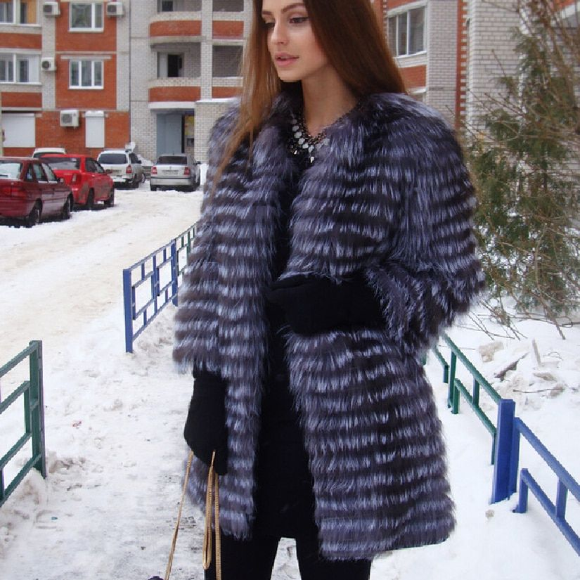 BFFUR Women's Winter Real Fox Fur Coat 2017 NEW Ladies thick Warm Medium Long Female Fur Jacket Fox Fur Gilet Fur Coat