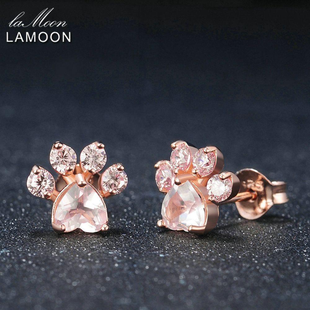 Lamoon Красивые ювелирные изделия Серьги-гвоздики bearfoot стерлингового серебра 925 розовый 100% натуральный камень розовый кварц Обувь для девочек...