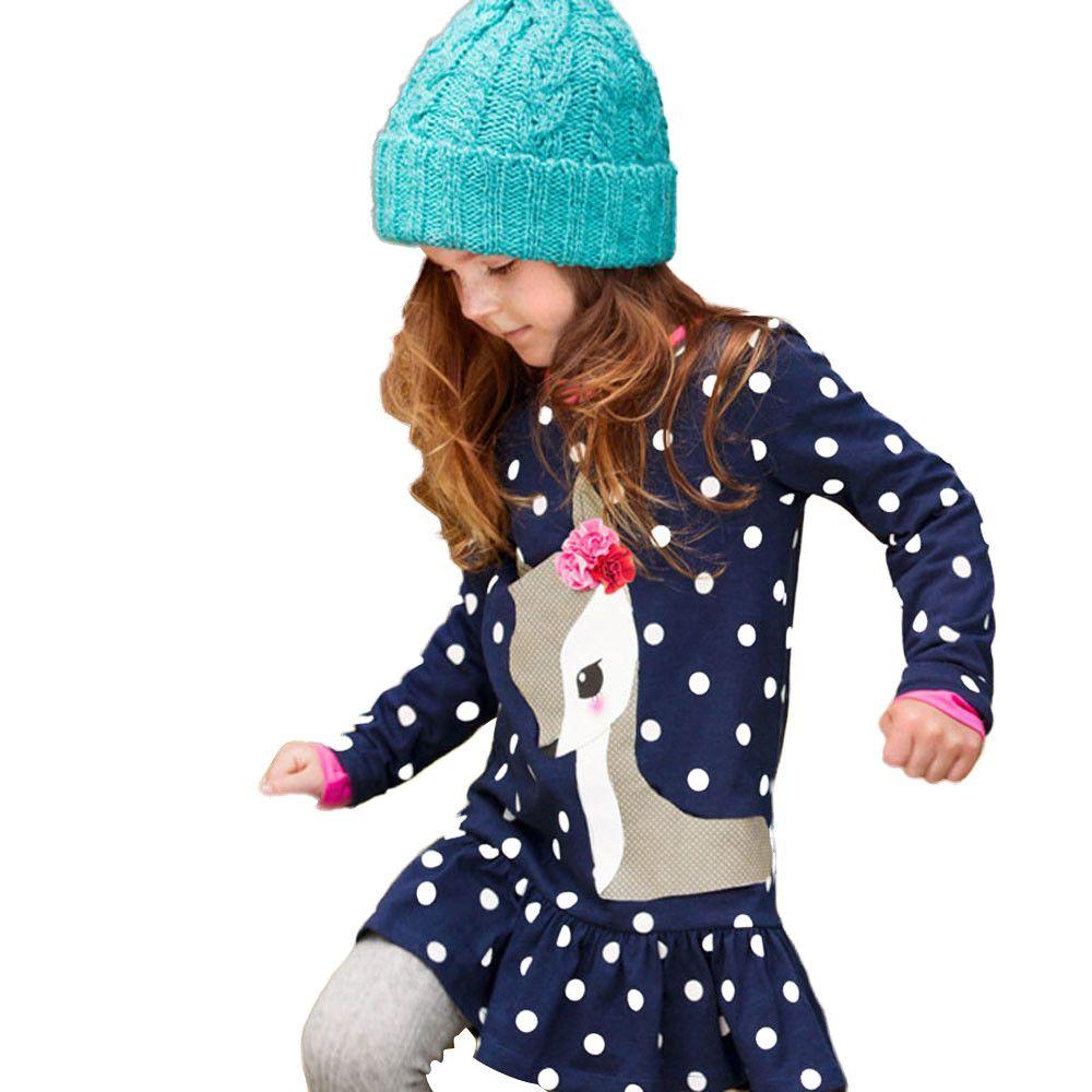 May Baby #5001 Children's long sleeve Halloween pumpkin print stripe dress Hair Strap Baby girl clothes Drop Shopping