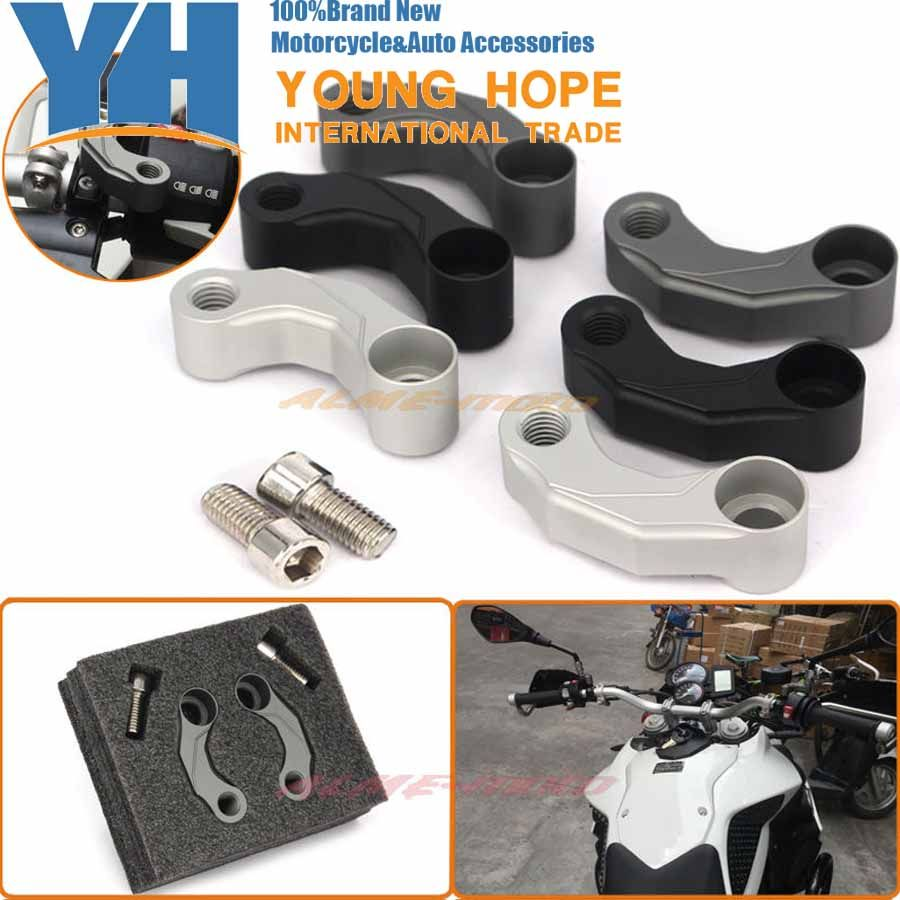 Motorcycle Aluminum Mirrors Relocation Extension Adapter Kit For BMW F650GS F700GS F800GS/R HP2-Megamoto K1200R K1300R S1000XR/R