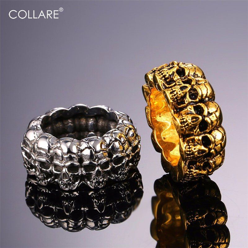 Collare Skull Ring Men Retro Punk Rock Jewelry Stainless Steel Men Cocktail Bands Bague Vintage Gold Color Skeleton Ring R171