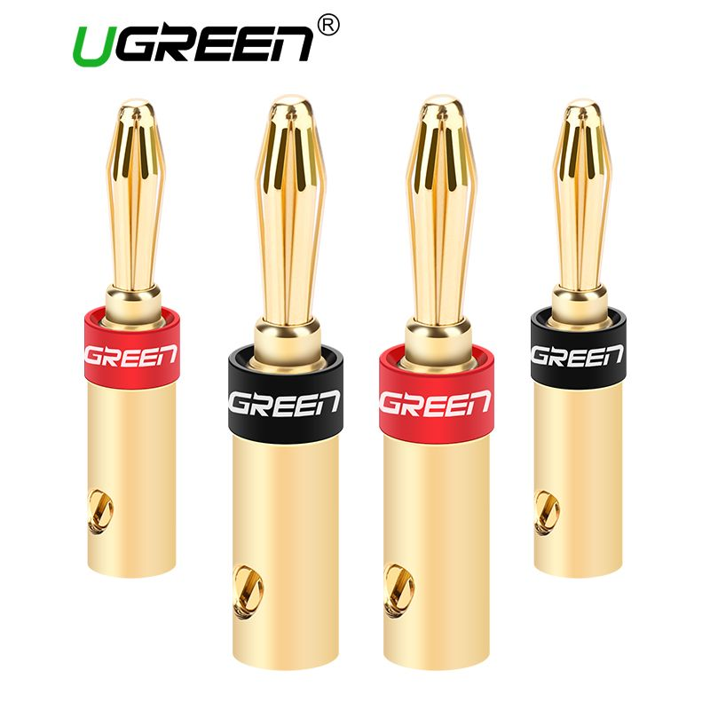 Ugreen 2 Pair/4 pcs 24K Gold-Plated Banana Plug Connector Corrosion-Resistant Banana Connector for Vedio Speaker Amplifier