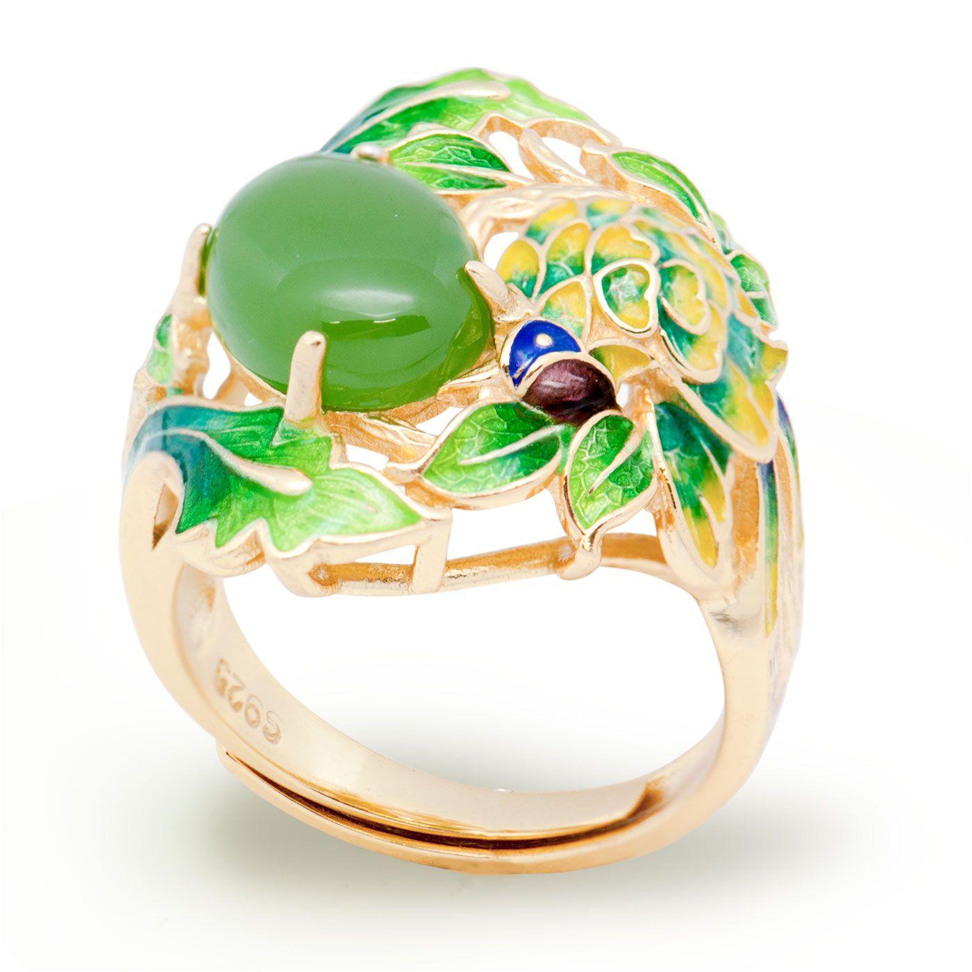 Esmalte Verde Jasper Flor Hojas Plata de ley 925 Anillo de Oro Ajustable