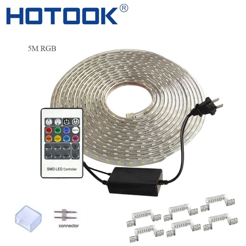 HOTOOK LED Strip 220V LED Tape RGB Rope 110V Ruban LED IP68 Waterproof TV Tira Flexible Ribbon Neon Flex ForCeilling Outdoor