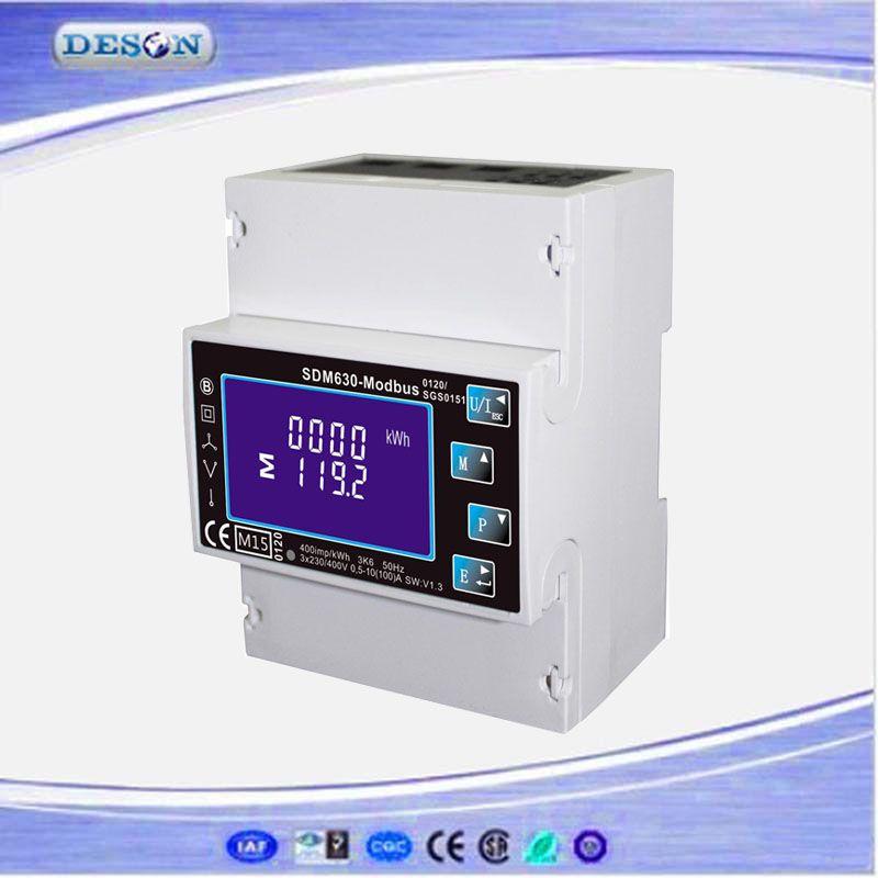 Free Shipping SDM630 Modbus RS485 Din Rail KWH Three Phase Energy Meter 100A Solar PV Energy Meter RTU Digital Meter