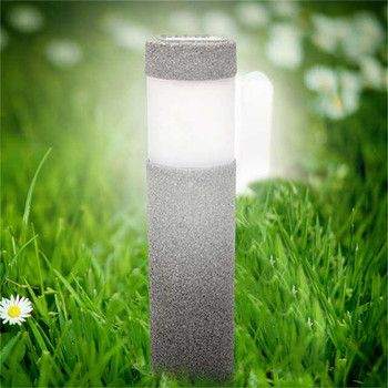 CLAITE Solar Power Stone Pillar Lawn Lamp 5W White LED Solar Lights Outdoor Garden Lights Landscape Wall Decoration Lamps