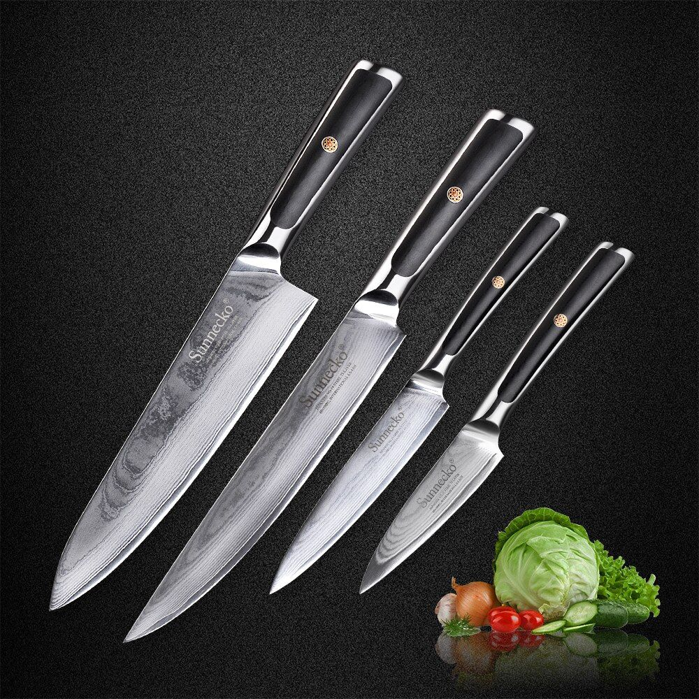Sunnecko New 4pcs Damascus Kitchen Knives Set Chef Slicing Utility Paring Knife Japanese VG10 Steel G10 Handle Sharp Meat Cutter