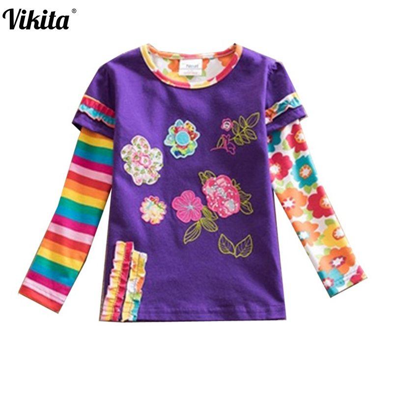VIKITA Marque Enfants t Chemises Enfants Fleur t-shirt Filles Manches Longues Tops Filles T Shirt Enfant Vêtements Enfants Chemises L220 mélanger