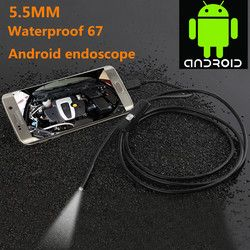 1/2 m 5.5mm/7mm Endoscope Caméra USB Android Endoscope Étanche 6 LED Endoscope Serpent flexible Caméra d'inspection Pour Android PC