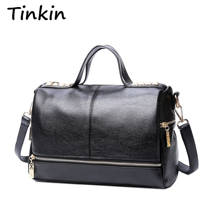Tinkin New Arrival Femal Handbag Retro Motorcycle Messenger Bag Rivet Leather <font><b>Laptop</b></font> Tote Bag Women Shoulder Bag