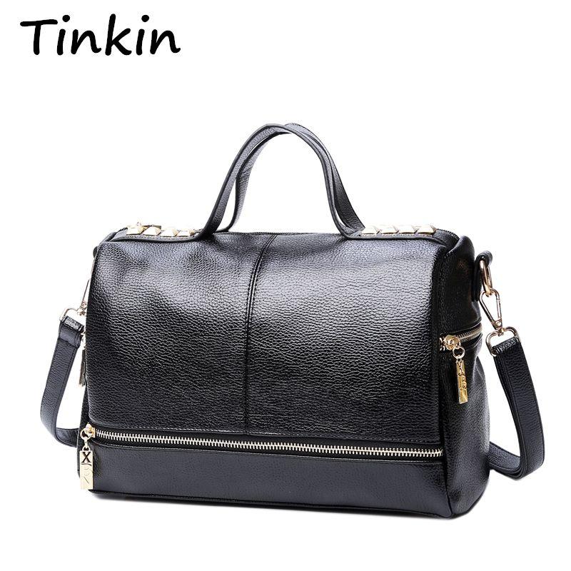 Tinkin New Arrival Femal Handbag Retro Motorcycle <font><b>Messenger</b></font> Bag Rivet Leather Laptop Tote Bag Women Shoulder Bag