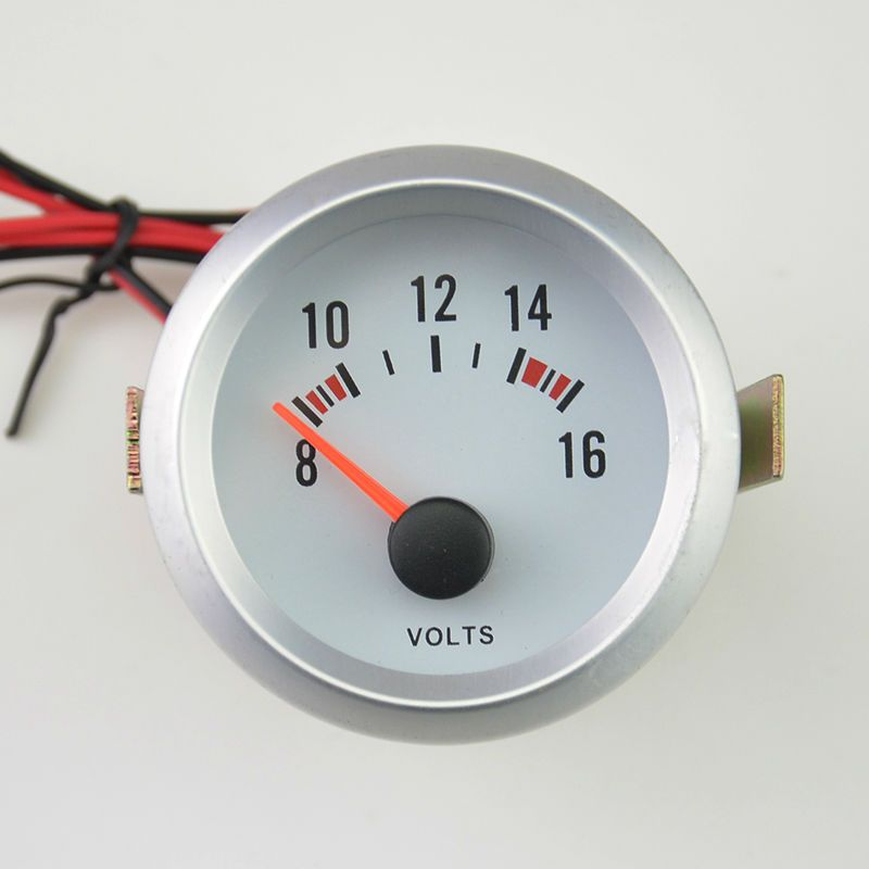 2 Incn(52mm) 12 voltage Auto Car motorcycle white shell blue backlight Read 8-16V auto volt gauge Meter Free shipping