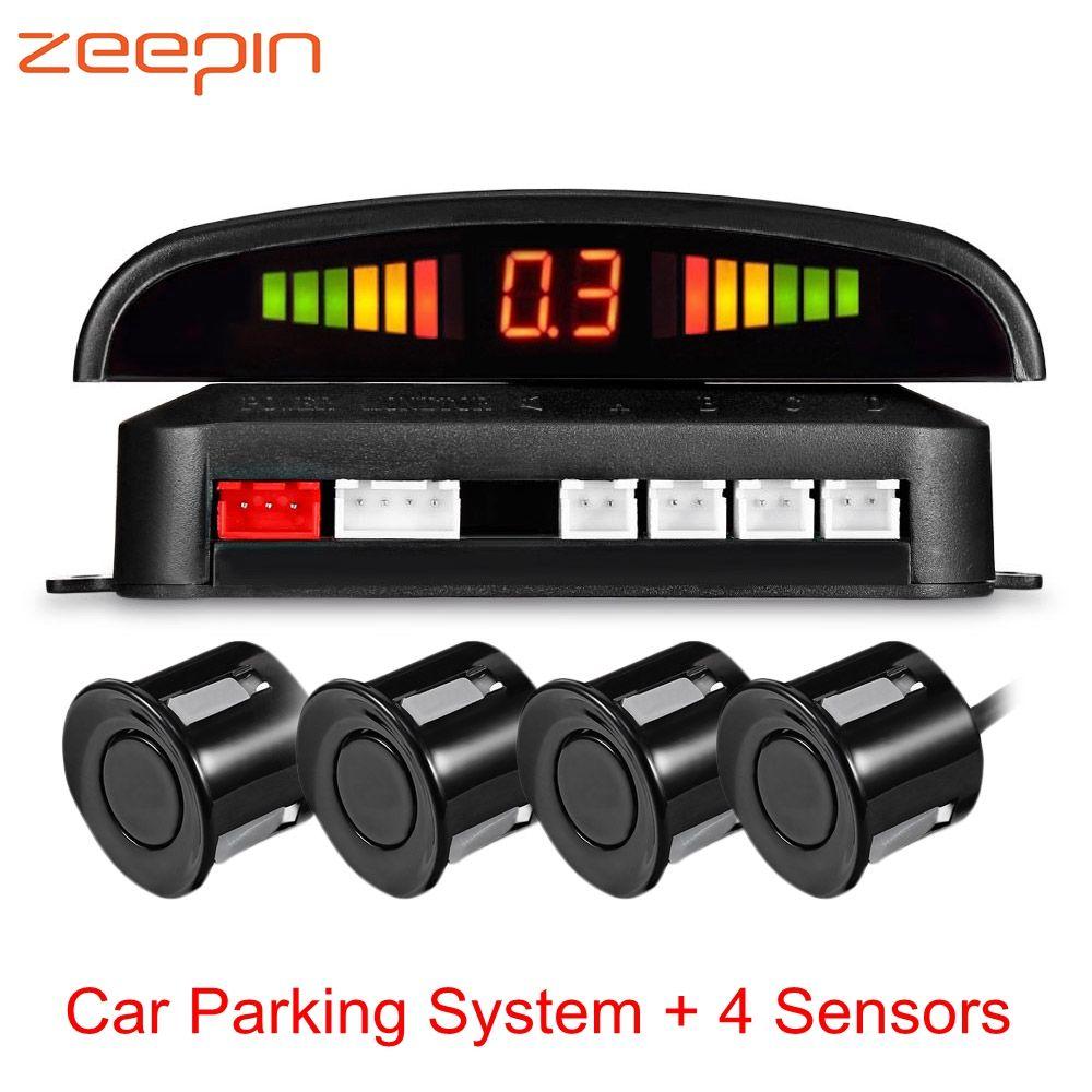Capteur de Stationnement de voiture avec 4 Capteurs Auto Parktronic LED de Recul De Voiture De Sauvegarde Parking Radar Moniteur Distance Détecteur de Système D'alarme