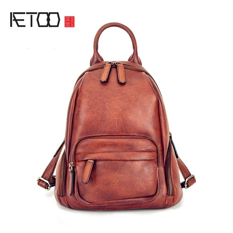 AETOO 2017 new men and women couples shoulder bag retro leisure wipe leather bag wallet travel bag