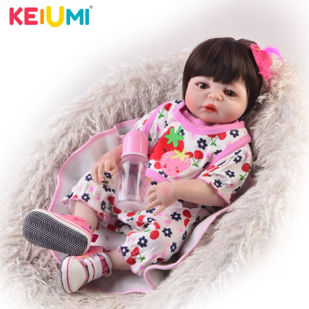 Collectible 23'' Reborn Doll Lifelike Full Silicone Vinyl Real Looking Newborn Girl Babies Toy Doll For Children's Day Xmas Gift