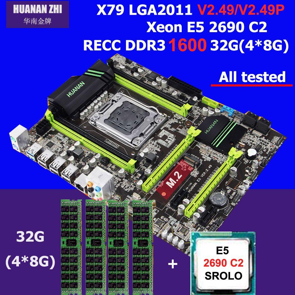 Hot HUANAN ZHI X79 motherboard CPU RAM combos processor Intel Xeon E5 2690 C2 SR0L0 2.9GHz memory 32G(4*8G) DDR3 1600MHz REG ECC