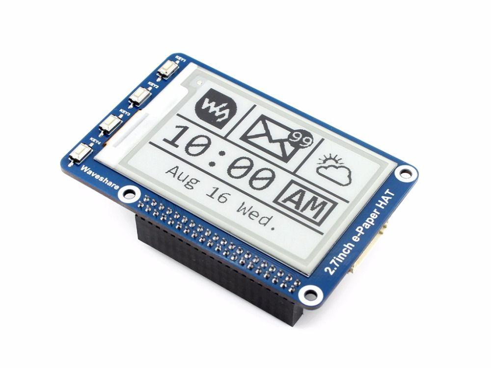 264x176 2.7 pouces E-ink affichage CHAPEAU pour Raspberry Pi Deux-couleur SPI Interface E-papier Pas de Rétro-Éclairage Ultra faible consommation