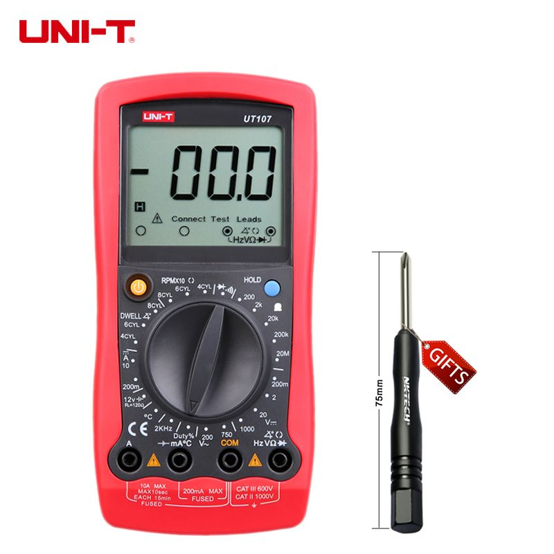 Multimeter UNI-T UT107 LCD Automotive Handheld Multimeter AC/DC voltmeter Tester Meters with DWELL,RPM,Battery Check
