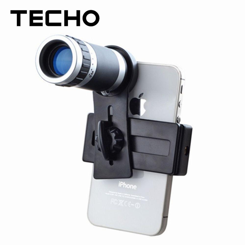 TECHO Mobile Phone Camera Lense Universal Clip Holder 8X Zoom Telescope Telephoto For Apple iPhone Samsung Xiaomi Asus Oukitel