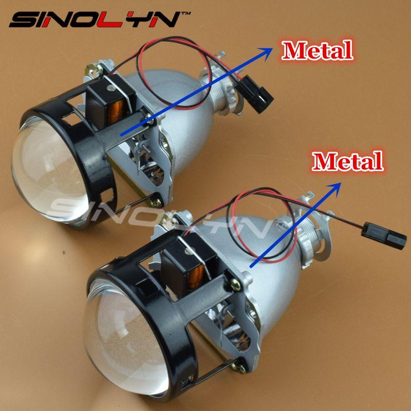 SINOLYN LHD/RHD Upgrade Full Metal 2.5 HID Bi xenon Lens Projector Headlight Headlamp Lenses H4 H7,Use H1 Xenon Bulb Car Styling