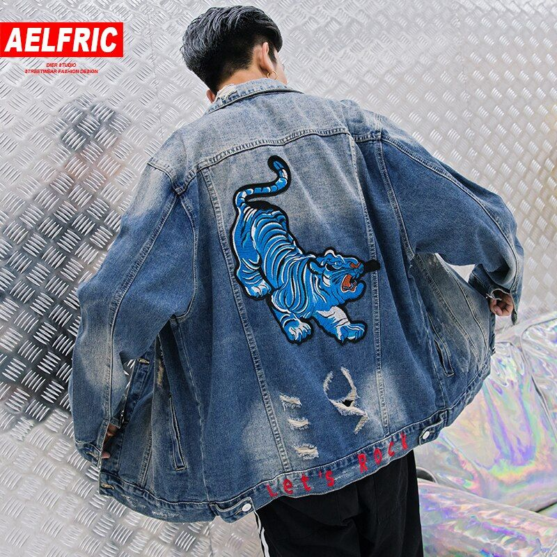 AELFRIC Tiger Embroidery Jean Baseball Jacket 2018 Hip Hop Mens Denim Jacket Coat Tactical Jackets Distressed Baggy Outwear RK23
