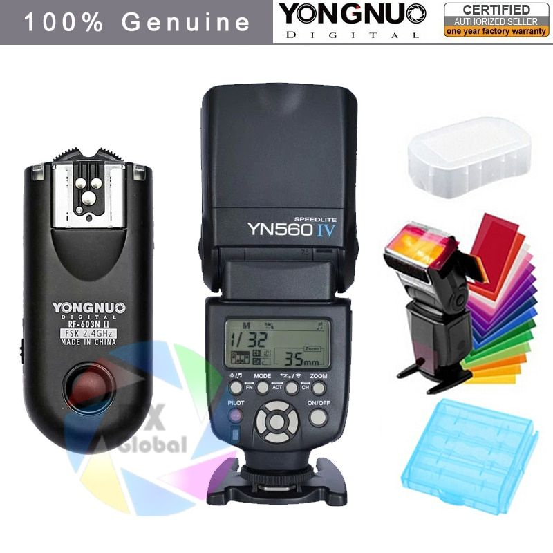 Yongnuo YN560IV YN560 IV YN 560 Flash Speedlite for Canon Nikon Olympus Pentax With YongNuo RF603 II Wireless Flash Trigger