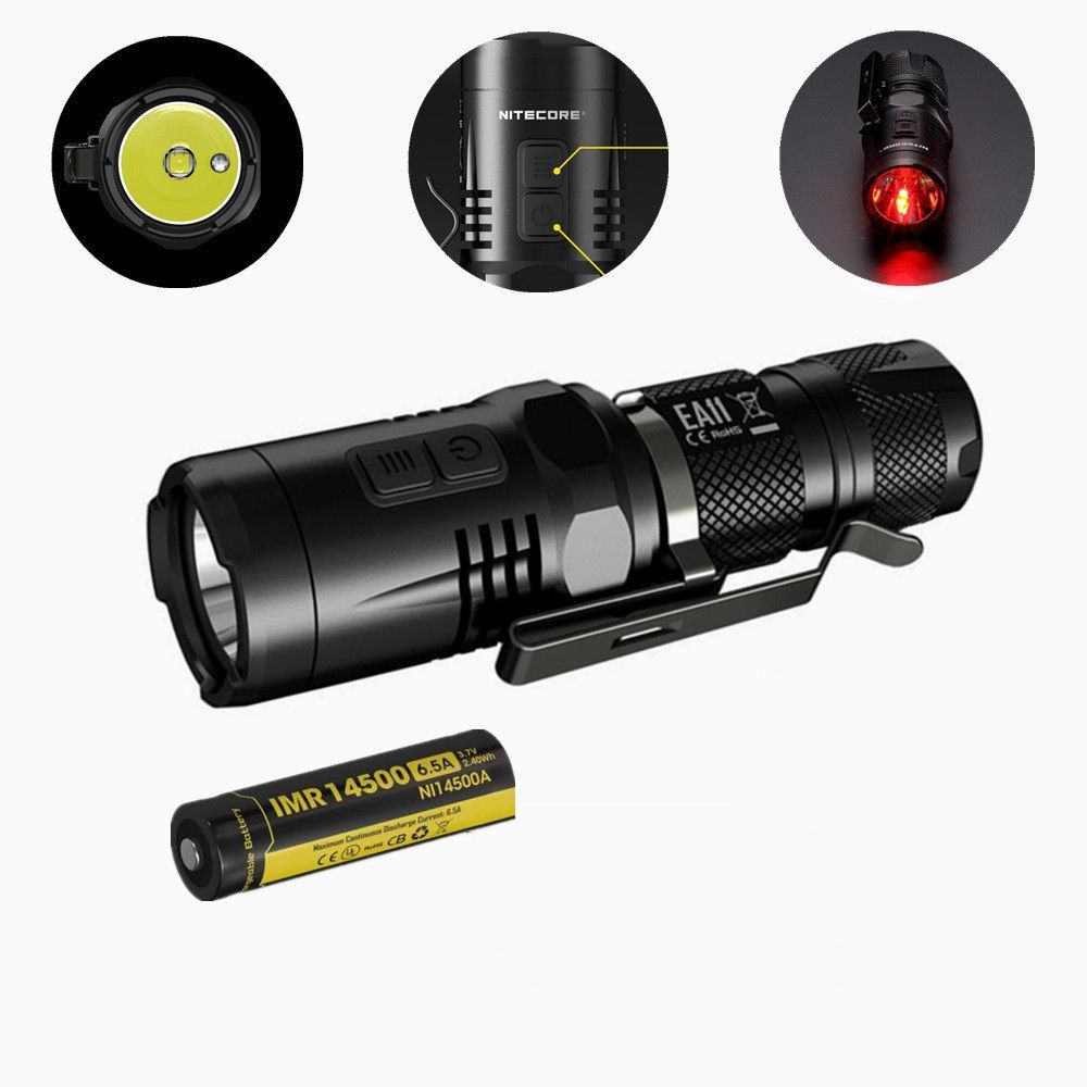 New NITECORE EA11 EDC 900 lumens CREE XM-L2 LED Flashlight Torch with Red Light with IMR 14500 battery