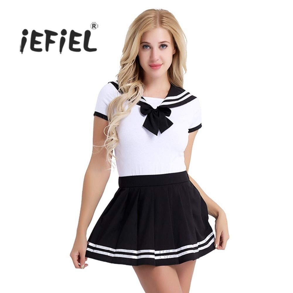 2Pcs Women Adult Cotton Baby Diaper <font><b>Lover</b></font> Short Sleeve Snap Crotch Romper with Mini Pleated Skirt Clubwear Costume Cosplay Sets