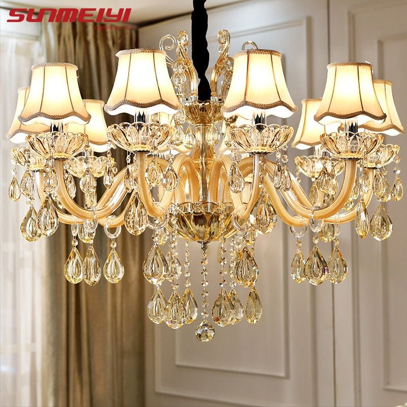 Modern Luxury Crystal Chandelier Lighting For Living Room European lustre para with shade Indoor Pendant Lamp Home Decorative