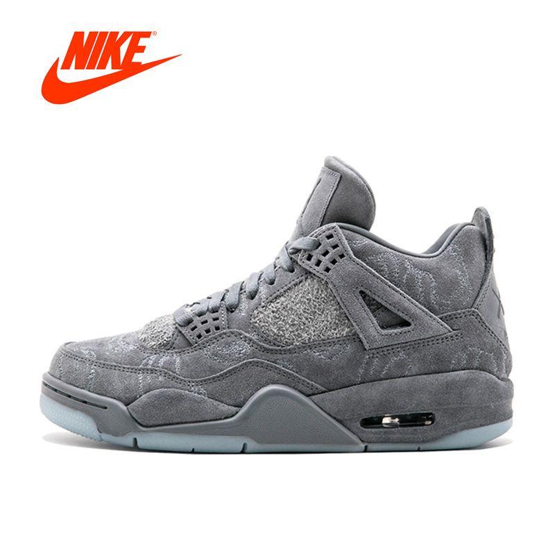 Оригинальный Новинка официальный Найк Kaws X Air Jordan 4 холодный серый дышащие Для Мужчин's Обувь для баскетбола спортивные Кроссовки