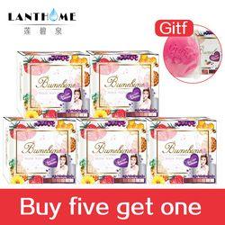 Comprar cinco obtener una Tailandia frutas jabones Bumebime cuerpo jabón blanqueamiento piel suave baño cuerpo limpieza profunda cuidado 6 piezas