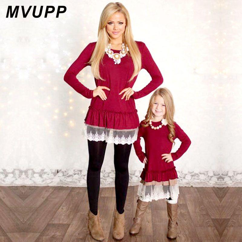 Mamá y Yo Moda Vestidos MVUPP vestidos Lace Patchwork Rojo Sólido de manga larga Familia de madre e hija A Juego Ropa TÚNICAS