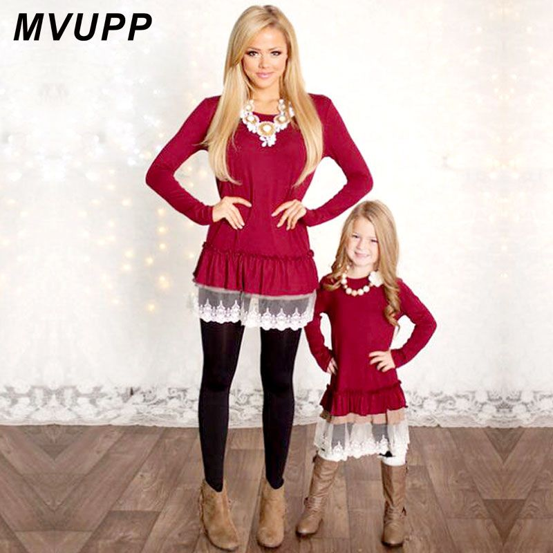 Mommy and Me Fashion Dresses Christmas mother daughter dresses Lace Patchwork Red Solid long sleeves Family Matching Clothes mom