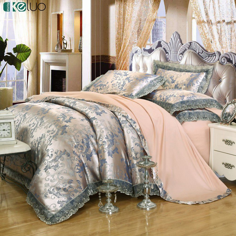 KELUO Luxury Bedding Set Jacquard luxury Queen/king size Stain Bed set 4pcs Cotton Silk lace Duvet cover Silver Blue Camel