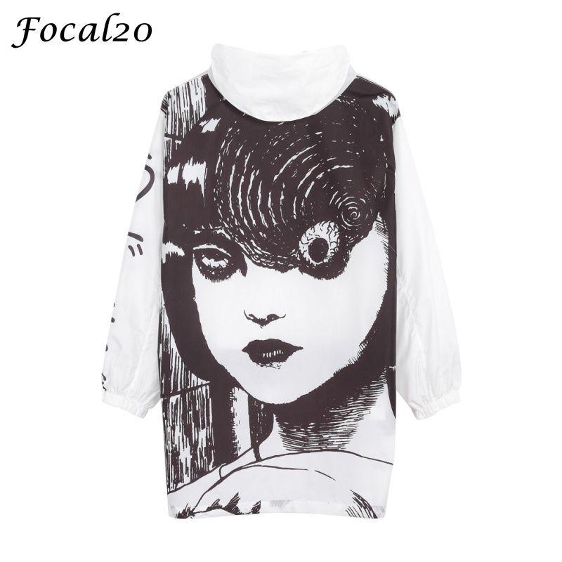 Focal20 Streetwear Junji Itou Manga imprimé Oversize femmes veste à capuche Anime pull à capuche veste manteau vêtement d'extérieur Streetwear