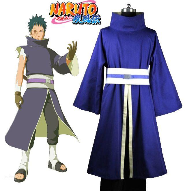 Livraison gratuite Naruto Shippuden Uchiha Obito/Madara Kimono et masque Anime Cosplay Costume (pas de masque)