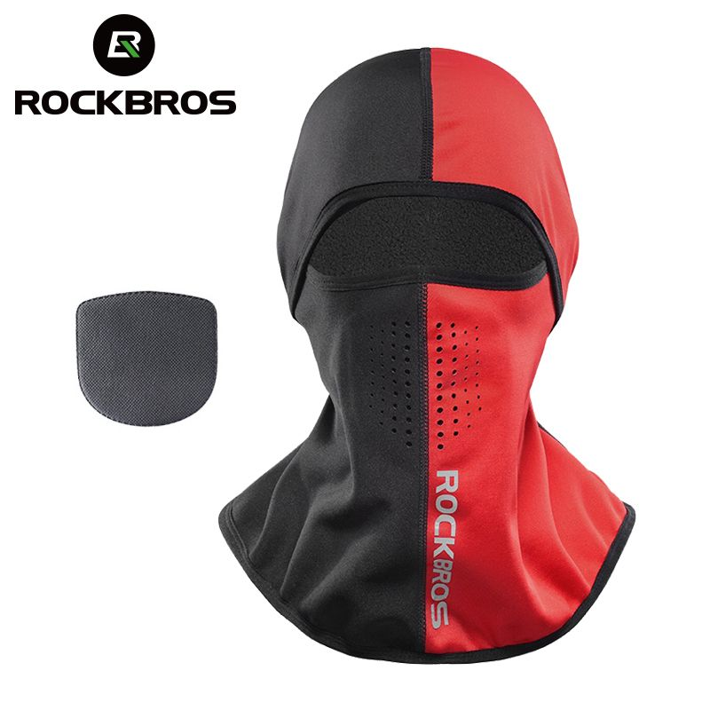 ROCKBROS Winter Thermal Fleece Ski Mask Snowboard Hood Full Face Cover Scarfs Outdoor Balaclava Windproof Cycling Headgear