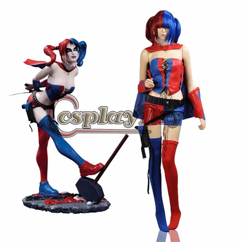 DC Comic New 52 Harley Quinn Costumes Blue and Red Suicide Squad Cosplay Outfit Halloween Costumes for women Custom Made